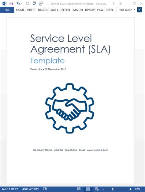 software service level agreement template service level agreement template 2 ms word 3