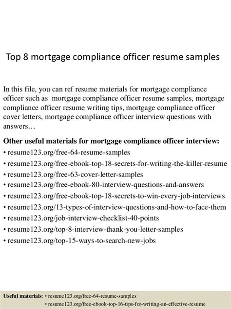 Mortgage Compliance Officer Sle Resume by Top 8 Mortgage Compliance Officer Resume Sles