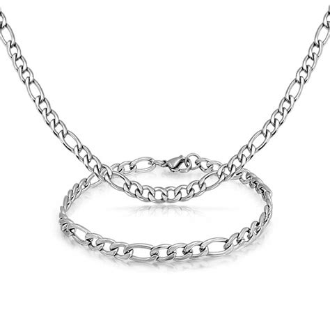 mens stainless steel 5mm figaro chain bracelet necklace set