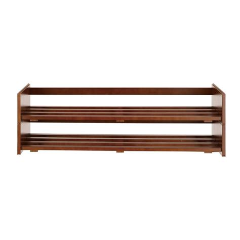 Home Depot Shoe Rack by Neu Home 2 Tier Shoe Rack In Mahogany 17081w The Home Depot