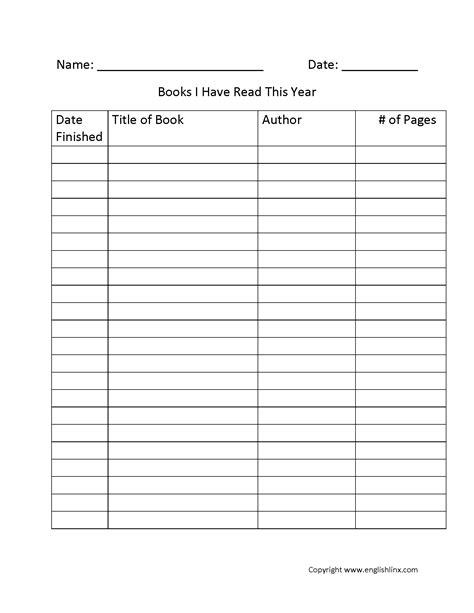 Reading Logs | Books Read Year Reading Log