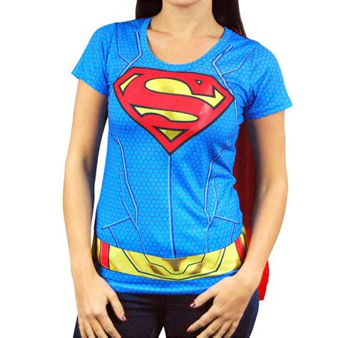 Hoodie Dc Real Pict womens dc comics supergirl costume t shirt with cape blue buy supergirl superman