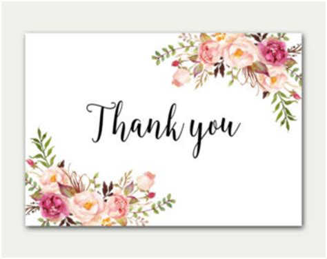flat thank you card template flat thank you card etsy