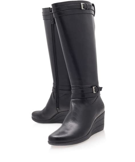 ugg black irmah leather kneehigh boots in black lyst
