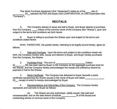 stock purchase agreement template stock purchase agreement template 9 free sles