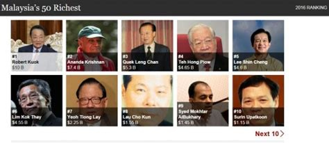 top 10 richest in malaysia 2016 billionaires