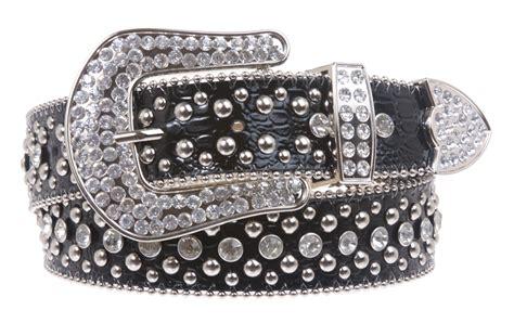 rhinestone leather belt