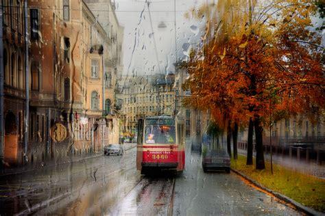 st petersburg city cityscape tram rain wallpapers hd