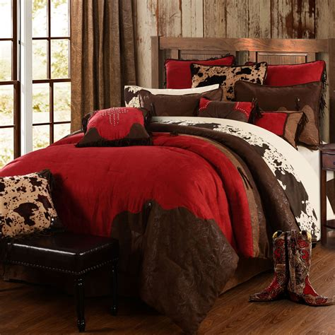 western bedding king size red rodeo bed set lone star