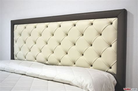 Buttoned Headboard by Upholstered Bed In Real Leather With Buttoned Headboard