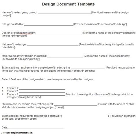 best photos of design document template sle design