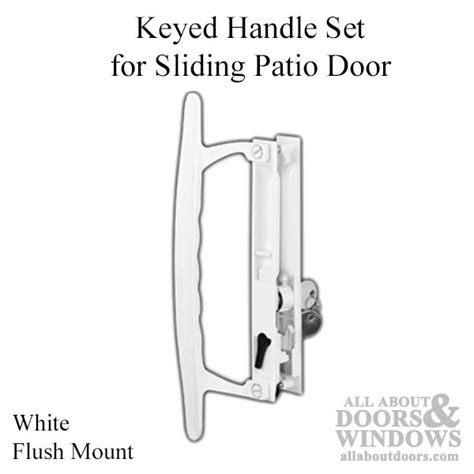 Keyed Patio Door Handle Keyed Handle Set For Sliding Patio Door Flush Mount Standard Hook White