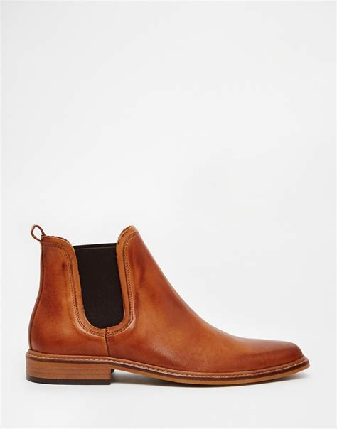 dune leather manderin chelsea boots in brown for lyst
