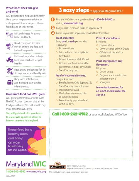 Support Letter For Wic maryland wic customizable one page outreach handout