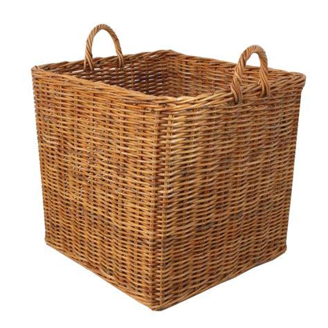 honey rattan square wicker log basket fireplace wood