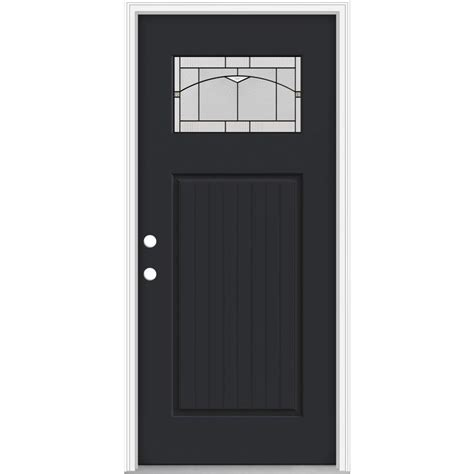 Jeld Wen Exterior Fiberglass Doors Shop Jeld Wen Decorative Glass Right Inswing Peppercorn Painted Fiberglass Prehung Entry