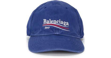 balenciaga 2017 logo cap in blue for lyst