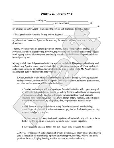 Power Of Attorney Form Poa Template Rocket Lawyer Free Poa Template