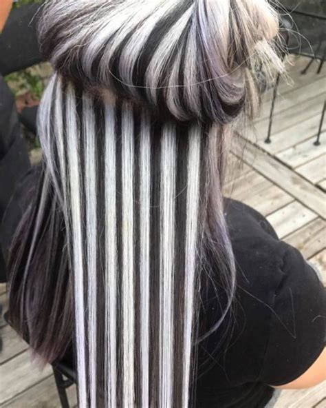 black and white color hairstyles these chunky black and white highlights are polarizing