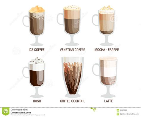 coffee cups types amaretto cartoons illustrations vector stock images