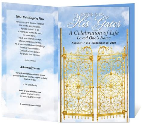 funeral programs heavenly gates single fold funeral