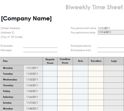 bi weekly time card template daily timesheet template free new calendar template site