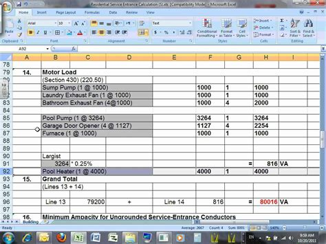 Commercial Electrical Load Calculation Spreadsheet by Commercial Electrical Load Calculation Worksheet