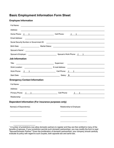 editable employee information card and form sample vlashed