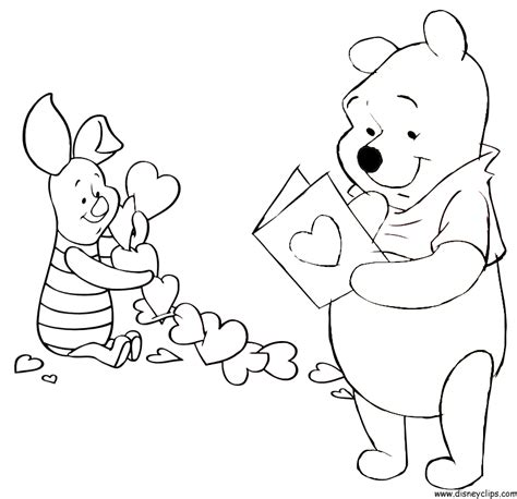 free coloring pages of winnie the pooh valentine