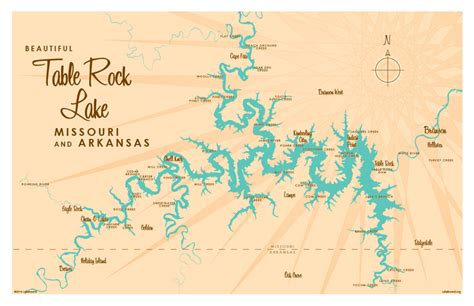 table rock lake map table rock lake map print lakebound lake maps