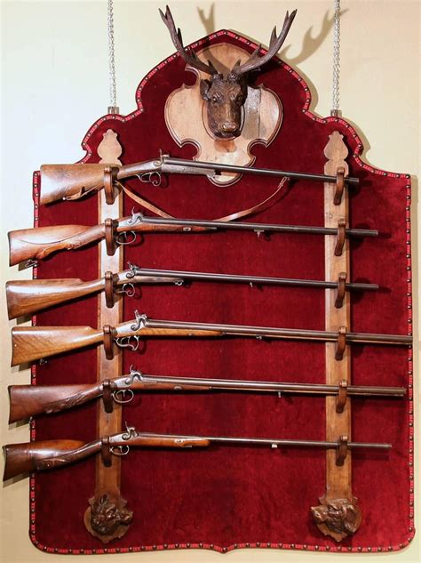 Wall Gun Racks For Sale by Large 19th Century Black Forest Six Gun Wall Mounted