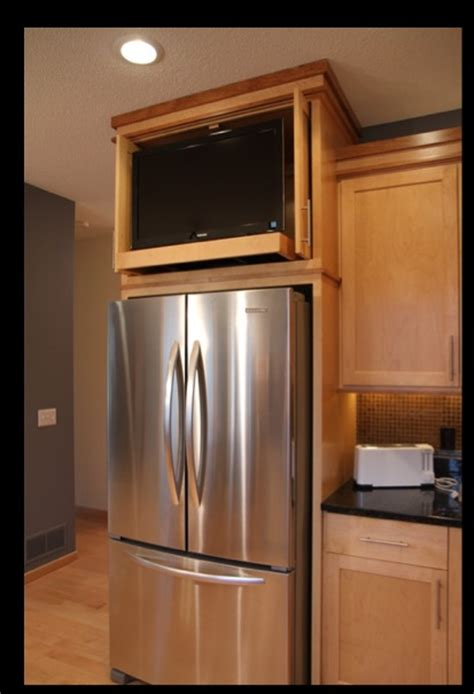 tv for kitchen cabinet kitchen cabinet above refrigerator space tv kitchen