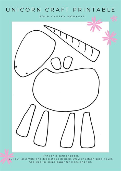 printable arts and crafts for unicorn craft activity flower crown and free printables