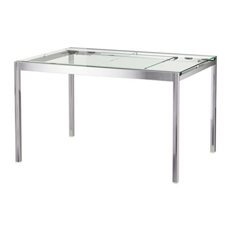 lade da tavolo moderne design glivarp extendable table transparent chrome plated 125