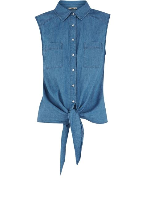 oasis oasis denim sleeveless tie front shirt in blue