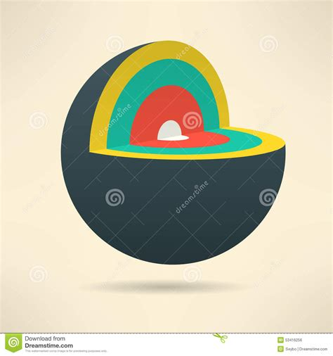 sphere section sphere section in colorful design circle layers stock