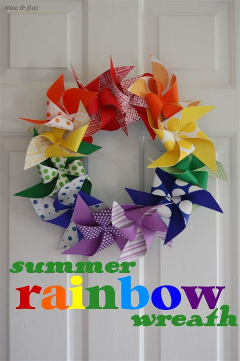 summer rainbow wreath wine glue