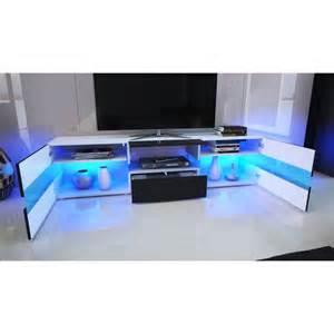 meuble tv blanc laqu 233 avec led pour meubles tv a 439 75