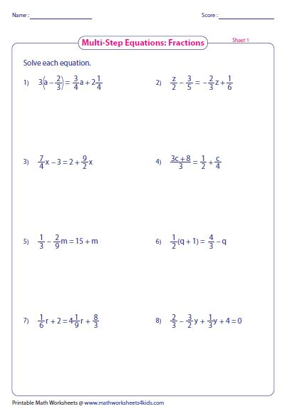 two step equations with fractions worksheet multi step equation worksheets