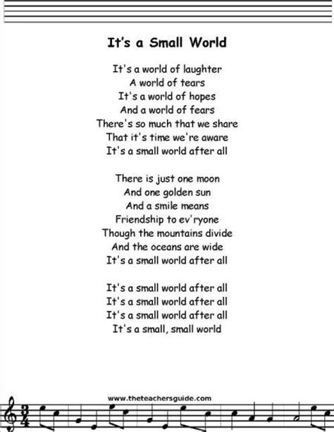 Printable Lyrics To It S A Small World | it s a small world song lyrics our homework help