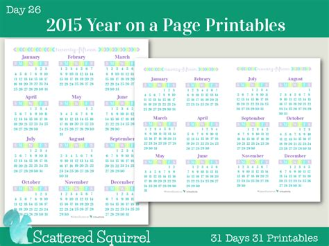 printable calendar year at a glance 2015 day 26 2015 year on a page printable calendars