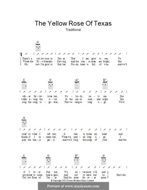 strumming pattern for yellow ukulele the yellow rose of texas by folklore sheet music on