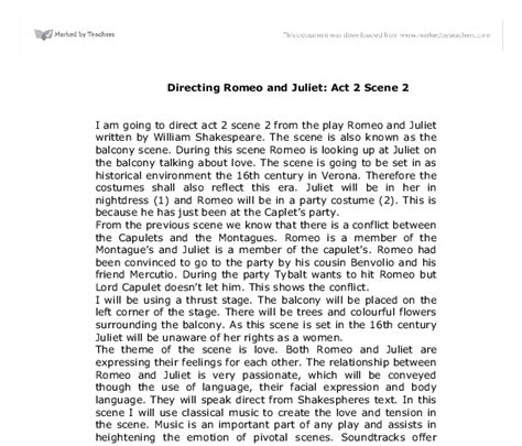 Romeo And Juliet 2 Act 2 Essay by Directing Romeo And Juliet Act 2 2 A Level