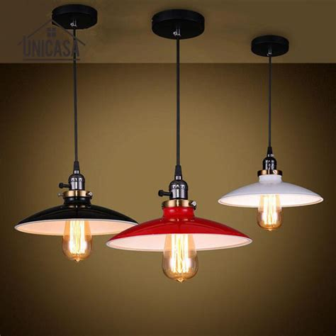 cord antique white black red metal shade lighting fixtures