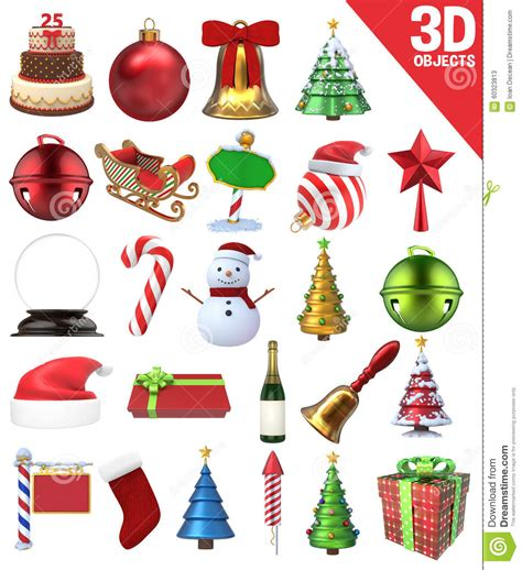 images of christmas objects christmas 3d objects set stock photo image 60323813