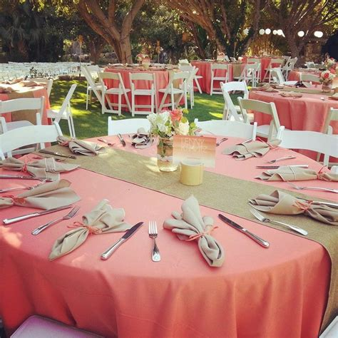 simply lovely table coarl pink and green table what a beautiful coral and jute burlap wedding reception