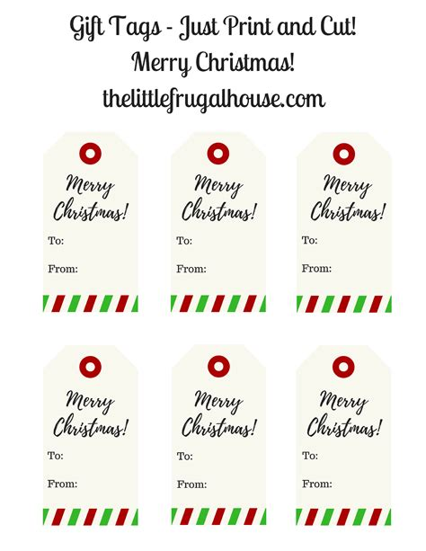 christmas gift tags printable merry christmas gift tags   frugal house