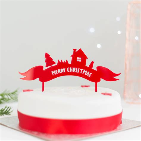 merry christmas cake topper rocket and fox