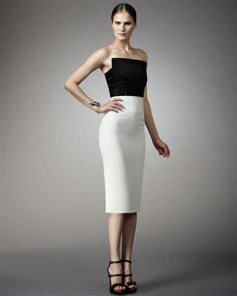 Dress Fashion Dr8962 Bta 2 lyst lanvin strapless two tone dress in black