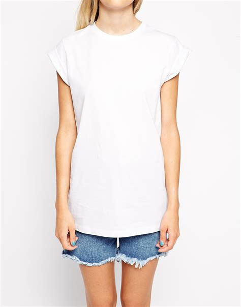 T Shirt Wanita Tunic asos boyfriend t shirt in tunic length in white lyst
